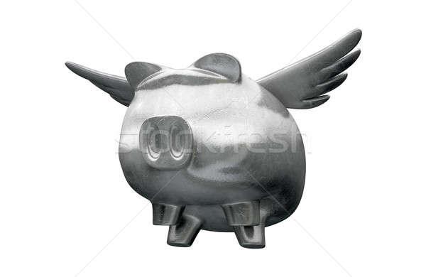 Pig Flying Metal Charm Stock photo © albund