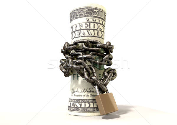 Rolled Up And Shackled Dollars Standing Stock photo © albund