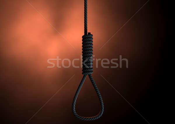 веревку жуткий мнение оранжевый силуэта преступление Сток-фото © albund
