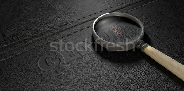 Fake Leather With Magnifying Glass Stock photo © albund