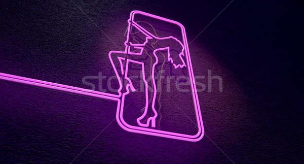 Imzalamak neon pembe kulüp Stok fotoğraf © albund