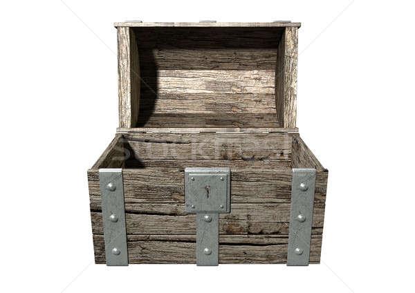Schatkist Open lege oude klassiek hout Stockfoto © albund