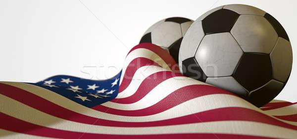 American Flag And Soccer Ball Stock photo © albund