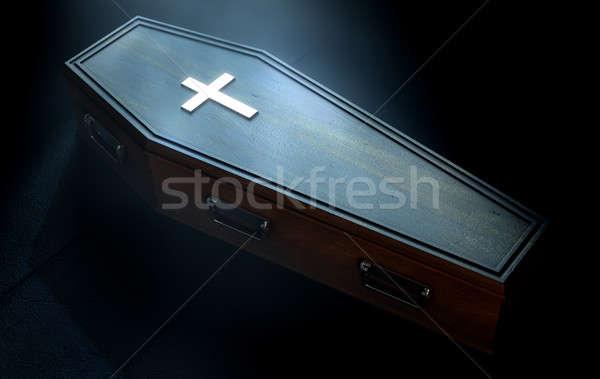 гроб распятие металл Spotlight 3d визуализации Сток-фото © albund
