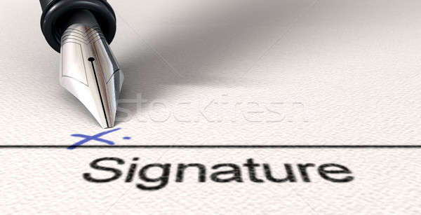 Signature X And Fountain Pen Stock photo © albund