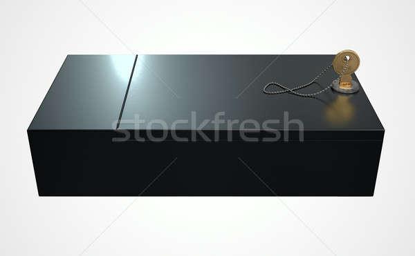 Preto seguro depósito caixa 3d render fechado Foto stock © albund