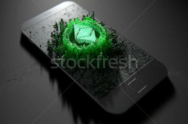 スマートフォン 微視的 クローズアップ 小 キューブ ストックフォト © albund