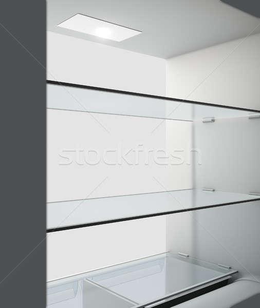 Koelkast interieur binnenkant lege huishouden Stockfoto © albund