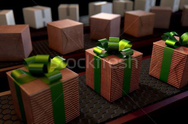 Natal produção linha 3d render caixas de presente Foto stock © albund