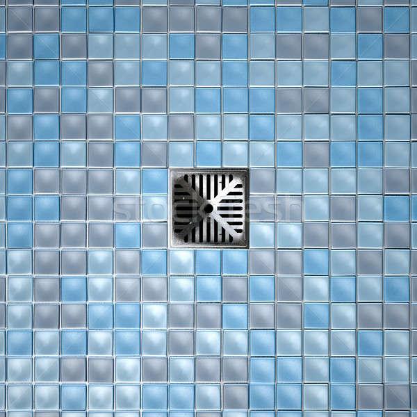 Zuhany padló lefolyó díszített gyűjtemény kék Stock fotó © albund