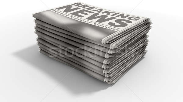 Newspaper Stack Breaking News Stock photo © albund