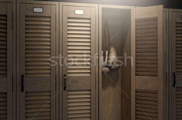 Boxing Gloves In Vintage Locker Stock photo © albund