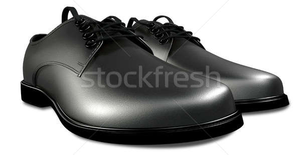 Formal Black Leather Shoes Perspective Stock photo © albund
