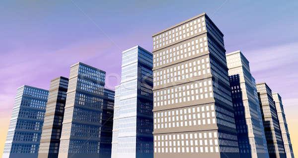 Bâtiment ville gratte-ciel réfléchissant fenêtres ciel bleu Photo stock © albund