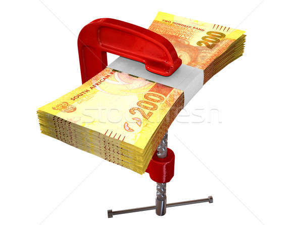 Clamped South African Rand Notes Stock photo © albund