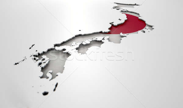 Recessed Country Map Japan Stock photo © albund