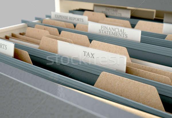 Faliszekrény fiók nyitva adó 3d render közelkép Stock fotó © albund