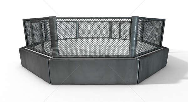 клетке 3d визуализации борьбе арена черный изолированный Сток-фото © albund