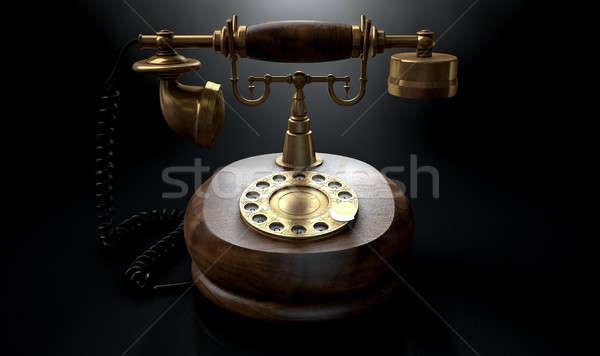 Vintage Telephone Dark Isolated Stock photo © albund