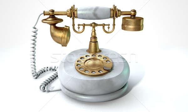 Klasszikus márvány telefon sárgaréz telefonkagyló tárcsa Stock fotó © albund