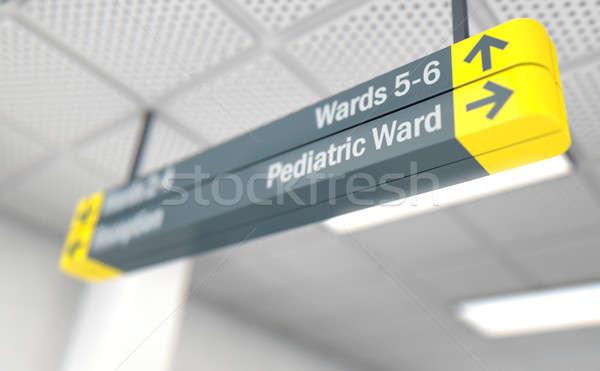 Ziekenhuis teken kindergeneeskunde plafond manier 3d render Stockfoto © albund