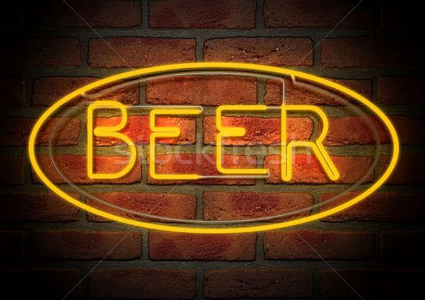 Neon bira imzalamak yüz tuğla duvar Stok fotoğraf © albund