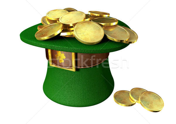 Green Leprechaun Hat Filled With Gold Coins Stock photo © albund