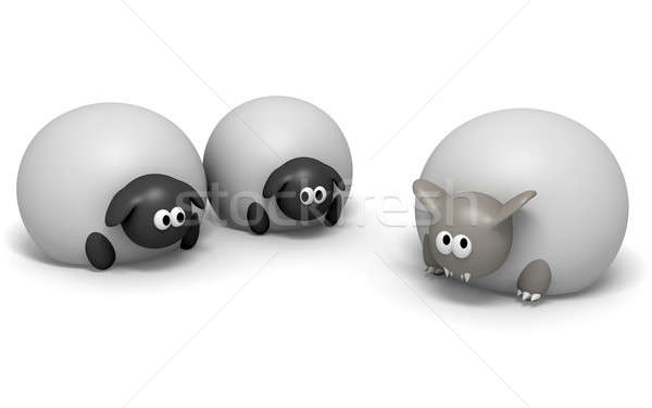 Wolf In Sheeps Clothing Isolated Stock photo © albund