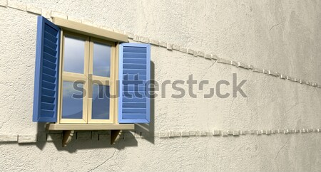 Window With Closed Green Shutters Perspective Stock photo © albund