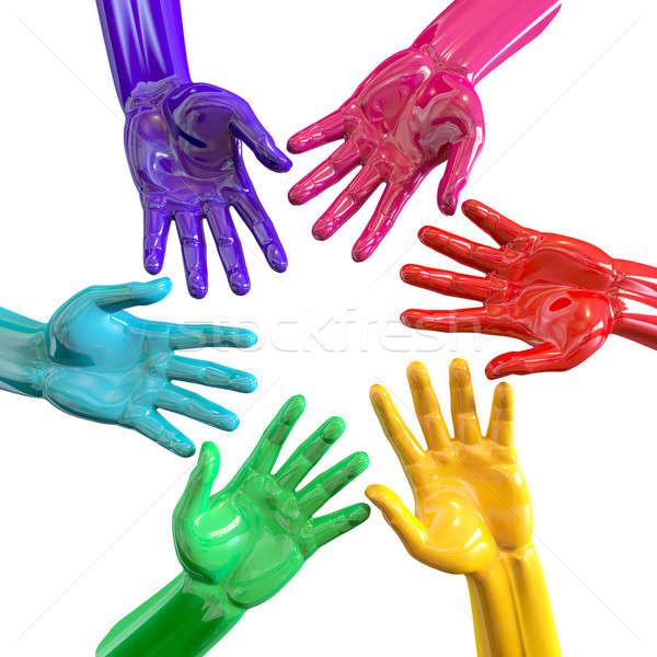 Hands Colorful Circle Reaching Inwards Stock photo © albund
