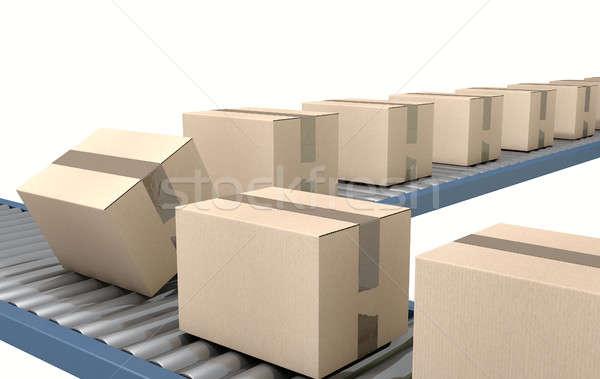 Roller Conveyor With Boxes Stock photo © albund