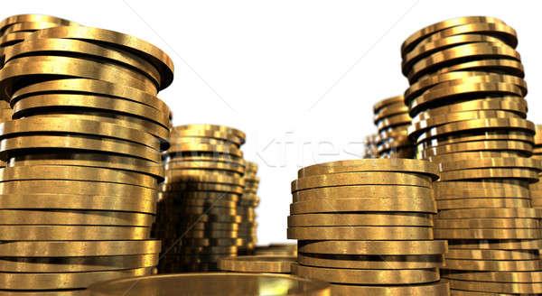 Moeda de ouro moedas de ouro isolado branco Foto stock © albund