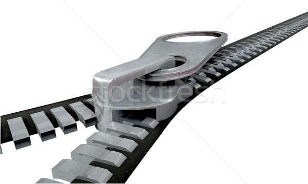Zíper mecanismo metal perspectiva Foto stock © albund