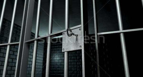 Cellule de prison porte ouverte lock brique fer Photo stock © albund