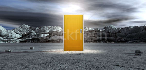 Barren Lanscape With Closed Yellow Door Stock photo © albund