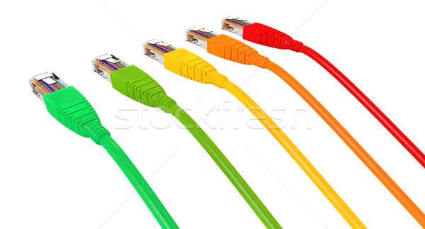 Ethernet kablolar renkler işaret uzak ayarlamak Stok fotoğraf © albund