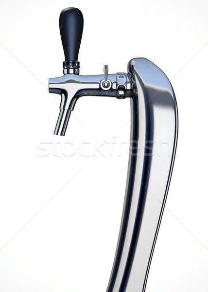 Bière robinet isolé chrome blanche Photo stock © albund