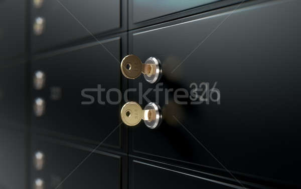 Black Safe Deposit Box Wall Stock photo © albund