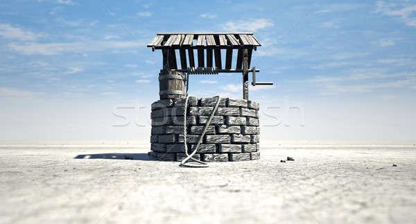 Kút fából készült vödör terméketlen tájkép tégla Stock fotó © albund