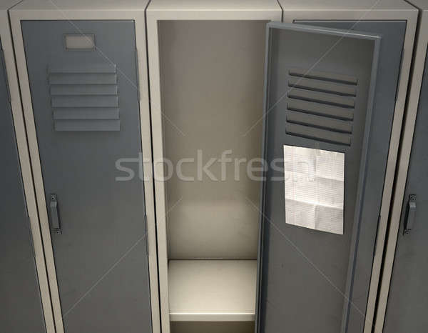 Shool Locker With Blank Note Stock photo © albund