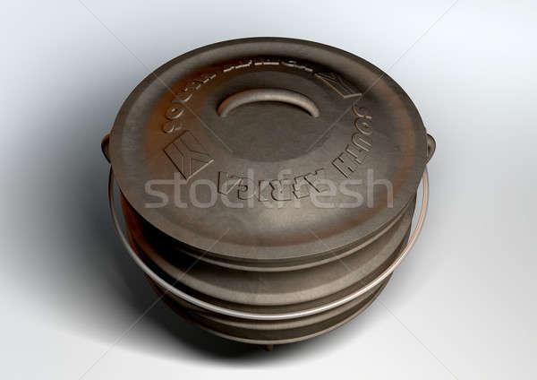 Dél-afrikai edény felső kilátás rendszeres öntöttvas Stock fotó © albund