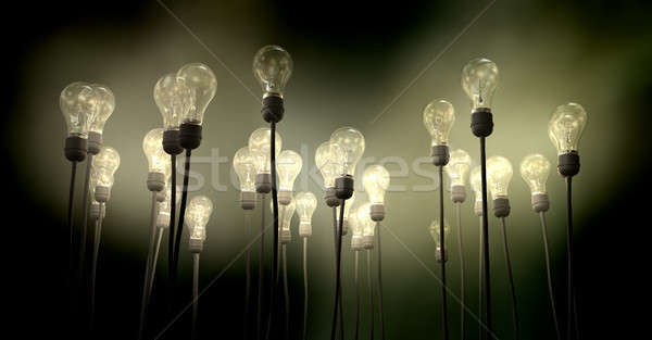 Light Bulbs Aiming Skyward With Eerie Glow Stock photo © albund