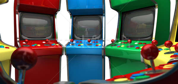 A circle of vintage unbranded arcade games with joysticks and various colored buttons and a blank sc Stock photo © albund