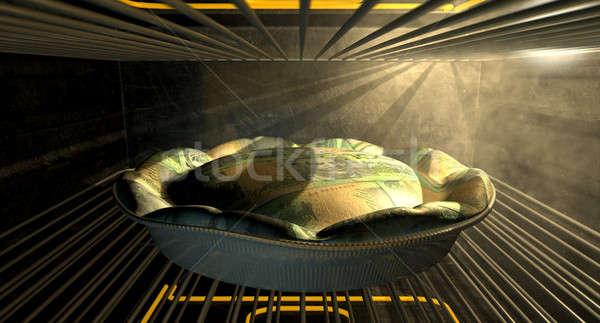 Australian Dollar Money Pie Baking In The Oven Stock photo © albund
