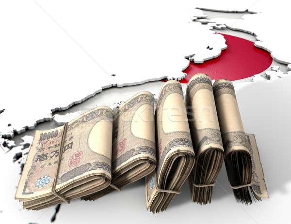 Japanese Map And Folded Notes Stock photo © albund