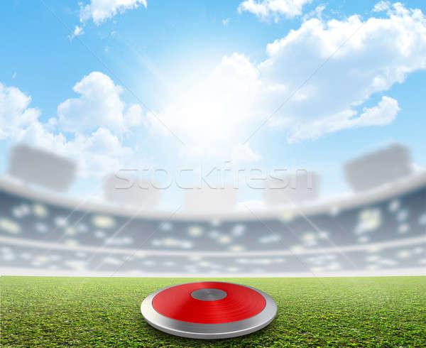 Diszkosz stadion zöld tőzeg általános sportok Stock fotó © albund