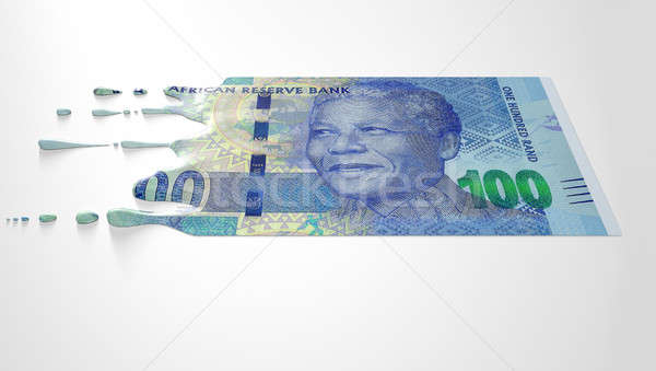 South African Rand Melting Dripping Banknote Stock photo © albund