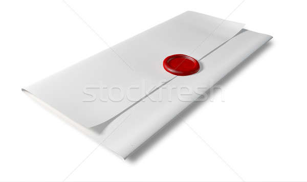 Folded White Paper With Red Wax Seal Perspective Stock photo © albund