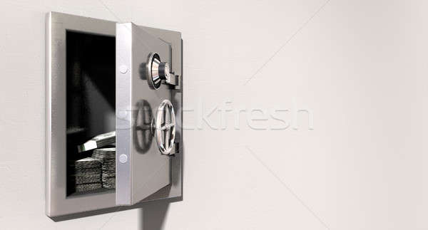 Open Safe On Wall With US Dollars Stock photo © albund