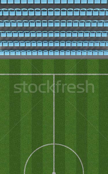Piłka nożna stadion górę widoku sekcja kierować Zdjęcia stock © albund